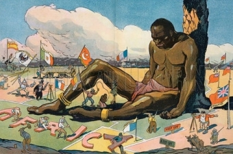 "The sleeping sickness. Illustration shows a large African man sitting, leaning against a tree, asleep; several European countries are staking claims to portions of Africa, planting flags labeled ""England, Portugal, Belgium, Turkey, Italy, Germany, Spain, and France"" all around the sleeping man. Date 1911 October 25."